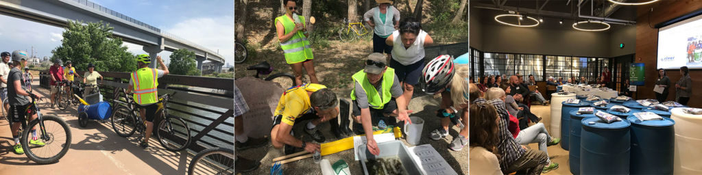 WEco bike tour participants learn about water conservation and sampling
